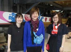 マネージャー、左から竹川保奈美さん、田中 葵さん、福田倫子さん。