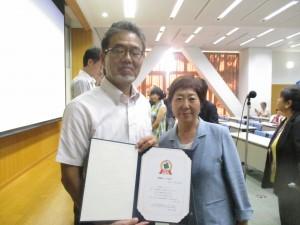 漆原 栄子副理事長から優秀賞と、最高の講評を頂きました。